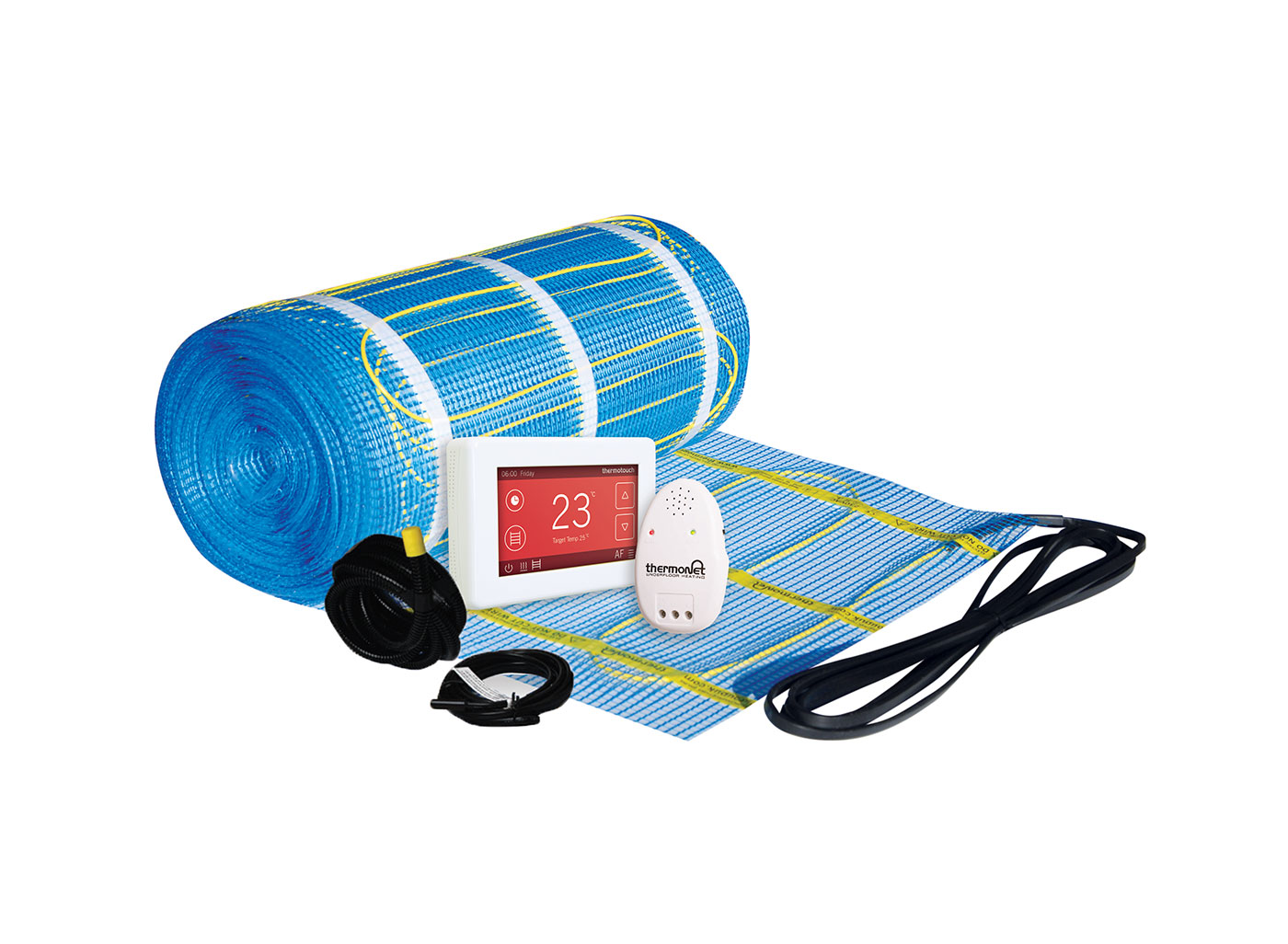 An electric underfloor heating system provides an energy efficient
