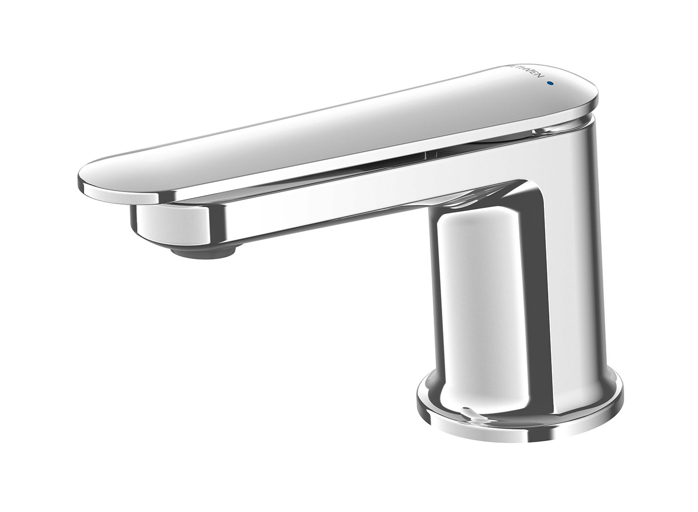 Aio tapware combines intriguing sculptural contours with modern minimalist design. With an integrated lever and body design