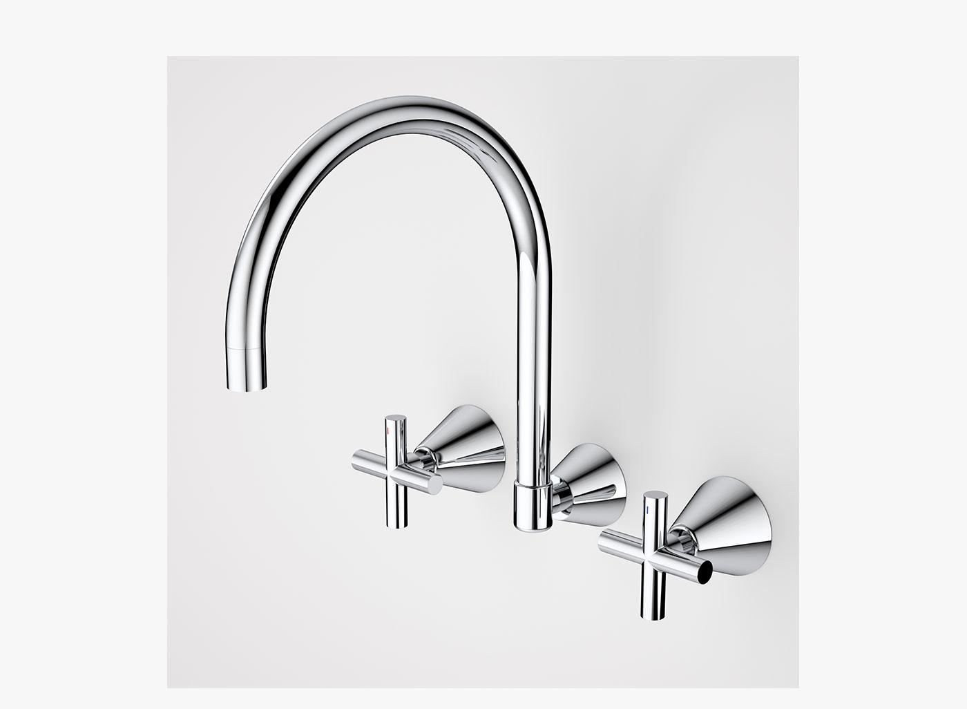 - 3-piece Classic cross laundry tap set