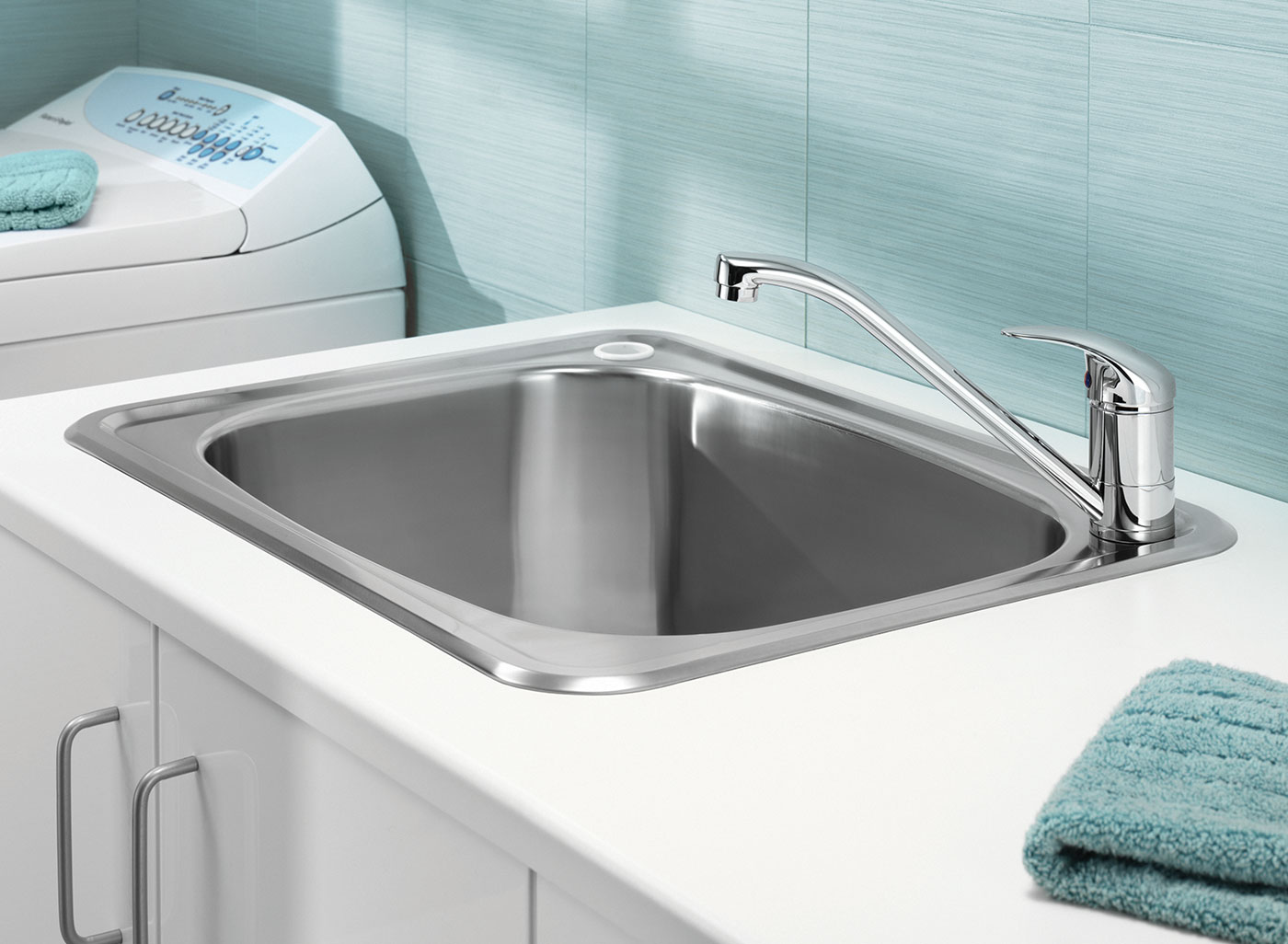 flush-fitting laundry tubs from Clark are designed to add style to any laundry and are available in standard width or space saving compact width