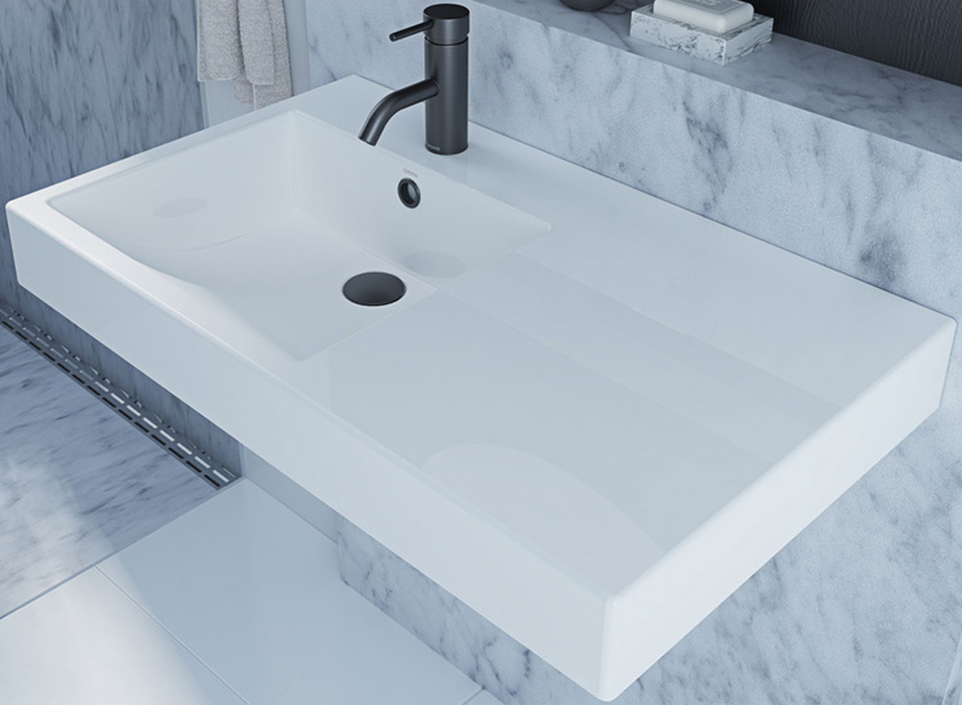 the Liano Nexus basin range is available in multiple configurations and compliments a contemporary bathroom.