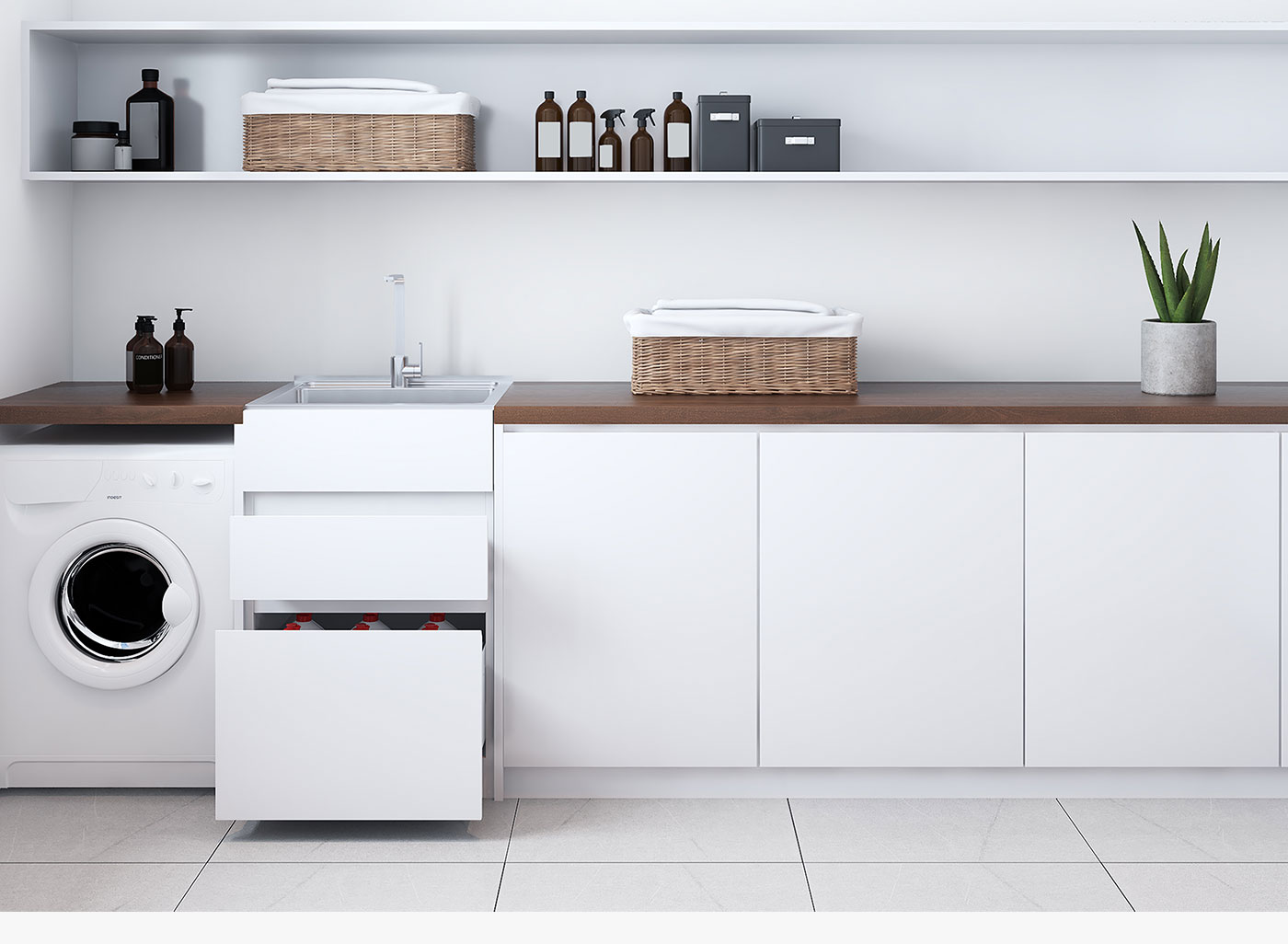 a bottom drawer suitable for larger containers and a full overlay design to modernise your laundry space.