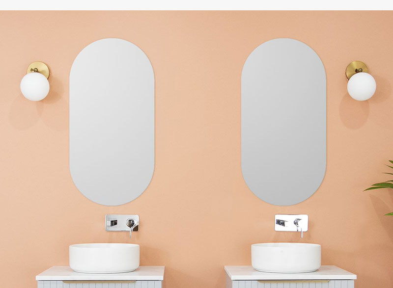 Sleek and relaxed sophistication with the Pill wall mirror. This mirror can be hung either horizontally or vertically to suit your vanity and bathroom space. Mirrors are copper free and have a handy hanging bracket is located on the back of the mirror.