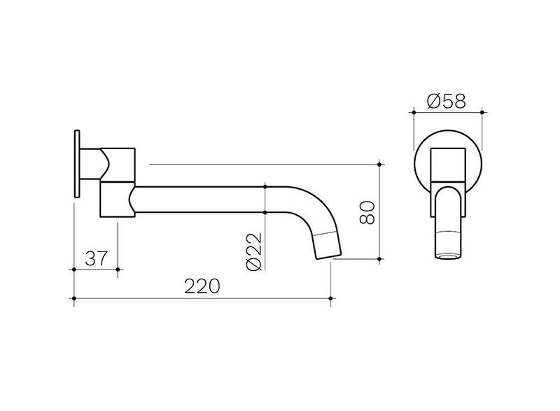 round 200 swivel bath outlet matte black 2