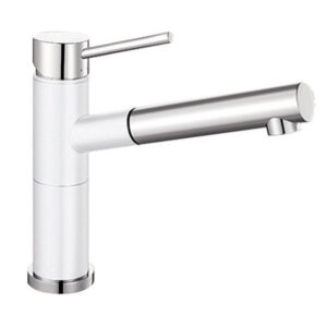 Blanco's Silgranit Alta-S Compact Sink Mixer features a dual look finish (white & chrome or anthracite & chrome) to complement their extensive Silgranit sink range. The Alta-S Compact mixer is a slim swivel tap in aesthetic design featuring a functional pull-out hand piece. It's the perfect coordination between mixer tap and Silgranit sink.