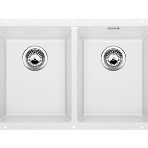The designer line for undermount sinks in Silgranit finish. This double bowl sink provides generous sink bowls