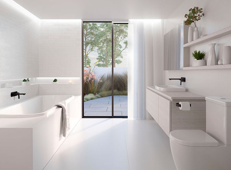contemporary style with smooth curves and subtle accents that won't go out of fashion. Dual reclined ends and a centrally located waste mean this bath is comfortable enough for two. Perfectly matches the Urbane range of basins and toilets.