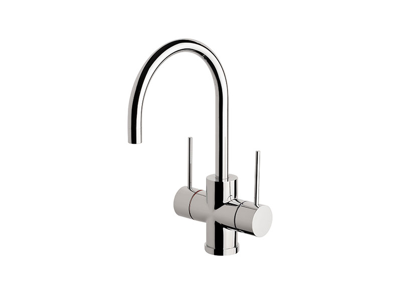 With its slimline lever handles and stylish practical mixers