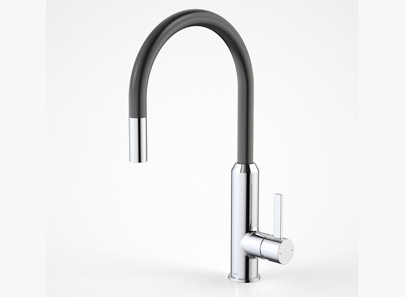 vixen retractable sink mixer black  chrome 3